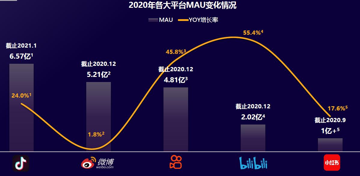 2020年各大平台MAU变化情况